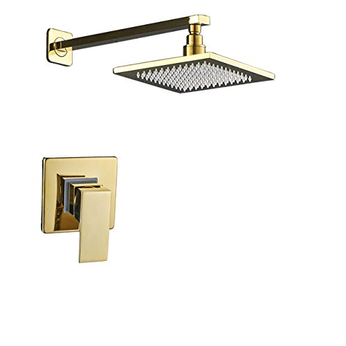 Rozin Wall Mounted 8-inch Square Rainfall Shower Head with Single Lever Mixer Valve Gold (Gold Showerhead System)