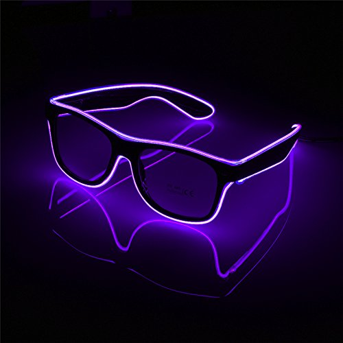 Glow Glasses Light Up El Wire Glowing Dance Party Rave Glow-in-The Dark LED Sunglasses - Glasses Purple Dark