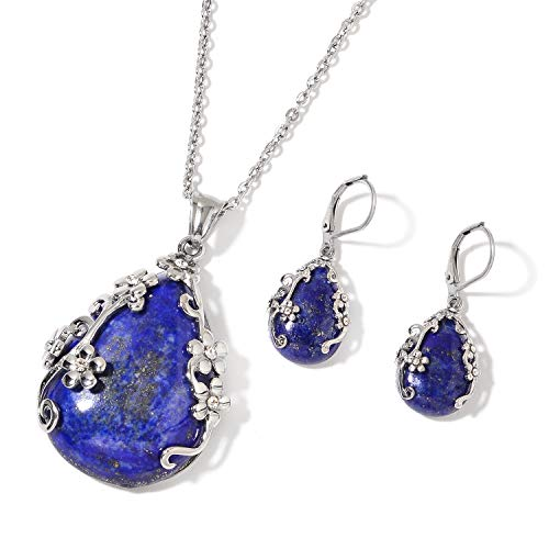 Shop LC Delivering Joy Lapis Lazuli White Crystal Lever Back Flower Earrings Chain Pendant Necklace Jewelry Set for Women Size 20