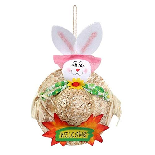 Orcbee  _Easter Garland Scarecrow Bunny Handmade Creative-Cute Straw Hat for Children (Pink) ()