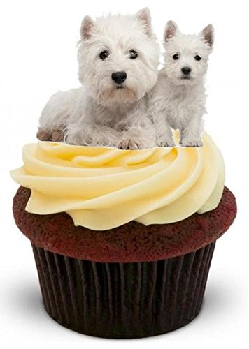 (WEST HIGHLAND TERRIER WITH PUP - 12 Edible Stand Up Premium Wafer Cake Toppers)