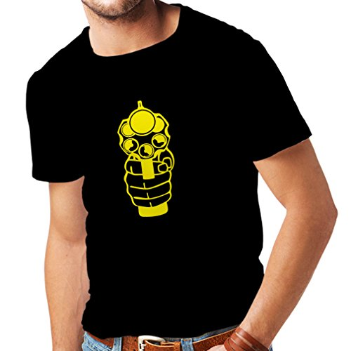 T Shirts for Men I Shoot to Kill ! Gun Enthusiast, Handgun, Police Gift (Small Black Yellow)