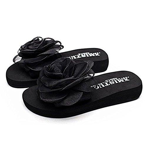 FAIRYRAIN Estar Para de BHUITRFETk casa Zapatillas Negro Mujer 17 Por rpqrBvS