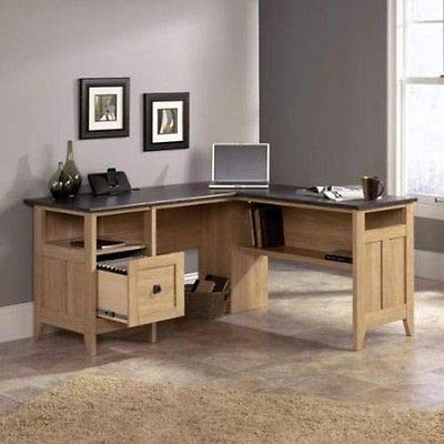Writing Desk Computer Desk Wood L-Desk Dover Oak Home Office Study Gaming Desk PC L-Shaped Executive Table Home Office Furniture