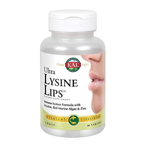 KAL Ultra Lysine Lips | L-Lysine with Vitamin C, Red Marine Algae, Zinc & Olive Leaf | Healthy Immune Function Support | 60 ()