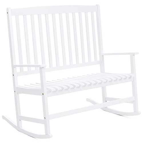 Best Choice Products 2-Person Rocking Chair w/ Contoured Seat (White) (Glider White Bench)