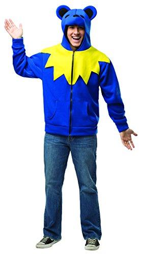 Grateful Dead Blue Bear Adult Costumes (Rasta Imposta Grateful Bear Hoodie, Blue/Yellow/Black, Small/Medium)