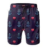 New Anchor PatternSeamless Love Wedding Men's Swim Trunks Summer Suit Pockets