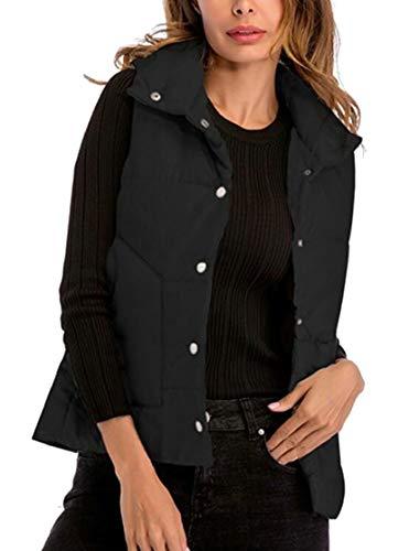 かなりのセマフォ飼いならすFly Year-JP レディーススタンドカラー軽量暖かいキルトパッド付きジャケットベスト