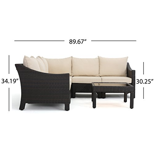 Caspian 6 piece outdoor wicker furniture patio sectional for Great deals on outdoor furniture