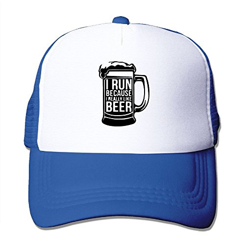 WYF Men&women I Run Because I Really Like Beer Outdoor Hip Hop Tennis Cotton Mesh Caps Hats Adjustable
