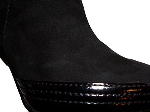 Cafe Noir Damen Stiefelette Wildleder und Leder BE-46 schwarz Schwarz