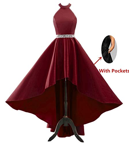 Changuan Halter High Low Evening Party Dress Satin Homecoming Prom Dresses Sleeveless Burgundy-20