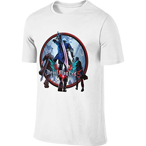 SHENGN Men's Designed Comfortable Tees Devil May Cry 5 DMC Icon T Shirts White