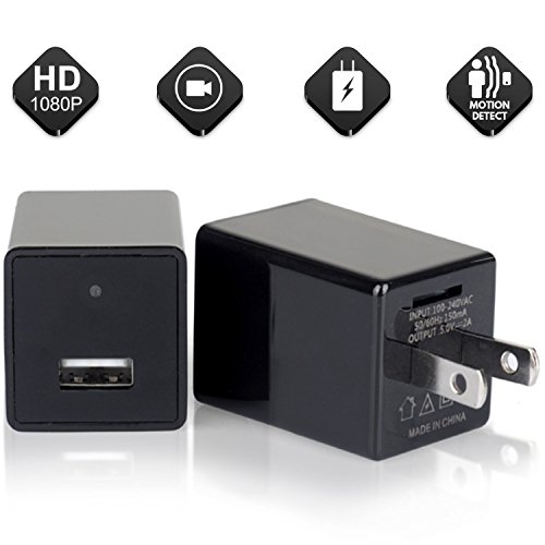 2018 Hidden Spy Camera Phone Charger Adapter - 1080P HD USB Cam with Wifi & Motion Detection - Can support 64GB Removable Memory - Charge Phones - Perfect for Office Home Nanny Hotel Surveillance