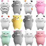 Outee Mochi Squishy Toys, 12 Pcs Squishy Cat Mochi Animals Mini Squishy Stress Relief Animals Squeeze Cat Toys Mochi Squeeze Squishy for Kids Adults