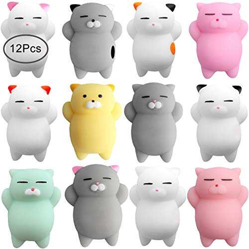 Outee Squishy Cat Stress Toys, 12 Pcs Mochi Squishies Toys Cat Mochi Animals Mini Cat Squishy Mochi Stress Relief Animals Squishy Squeeze Stress Cat Toys Mochi Squeeze Squishy