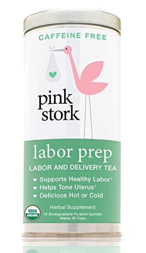 Pink Stork Labor Prep: Red Raspberry Pregnancy Tea, Labor & Birth, 40 Cups -2nd & 3d Trimester Tea-100% Organic Herbs -Strengthen & Tone Uterus -Caffeine Free -Sweet from Organic Stevia