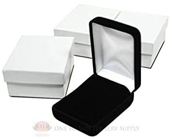NEW 3PC Pendant earrning jewelry Gift Boxes Black VELVET