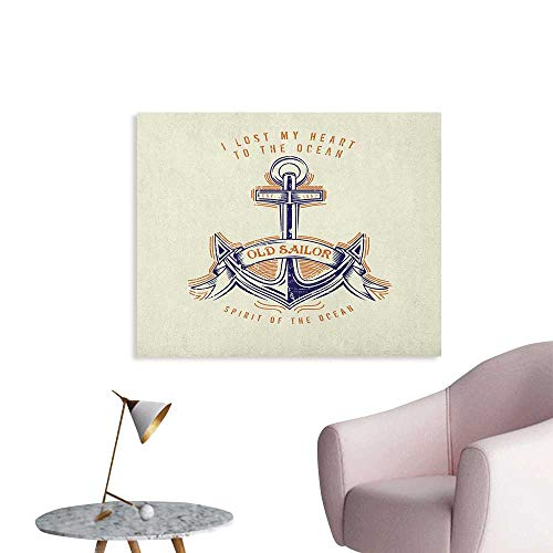 Anchor Poster Wall Decor Old Sailor Spirit Sign Firmly Anchored to The Ocean Image in Vintage Style Custom Poster Orange Blue Yellow W32 xL24 ()
