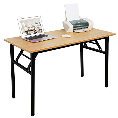 DlandHome 47'' Medium Home Office Computer Desk, No Install Needed, Composite Wood Board, Folding Table/Workstation, ND5-120TB Teak & Black Legs, 1 Pack by DlandHome
