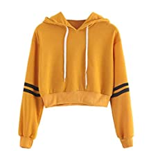 Srogem Womens Women's Casual Hoodies Long Sleeve Striped Crop Sweatshirt Tops