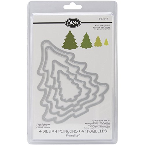 Sizzix 657944 Framelits Die Set Christmas Trees by Rachael Bright, Pack of 4, Multicolor