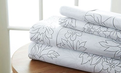 - Becky Cameron Printed Vine Patterned Quality 4 Piece Sheet Set, Queen, Gray