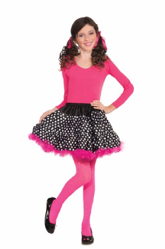 50s Style Dance Costumes (Forum Novelties Black and White Polka Dot Tutu Costume, Child Size)