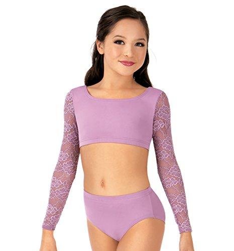 Child Lace Long Sleeve Dance Crop Top,LC1022MAUL,Mauve,Large