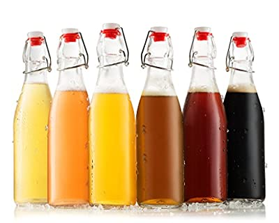 Grolsch bottles 6 pack - 16 oz swing top bottles easy cap beer bottles, leak proof