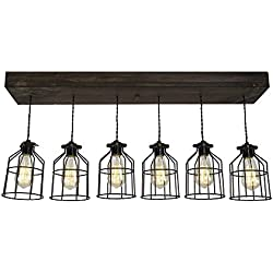 West Ninth Vintage Fayette Wood Pendant Chandelier Light | Indoor Home Ceiling Fixture W/Caged lights