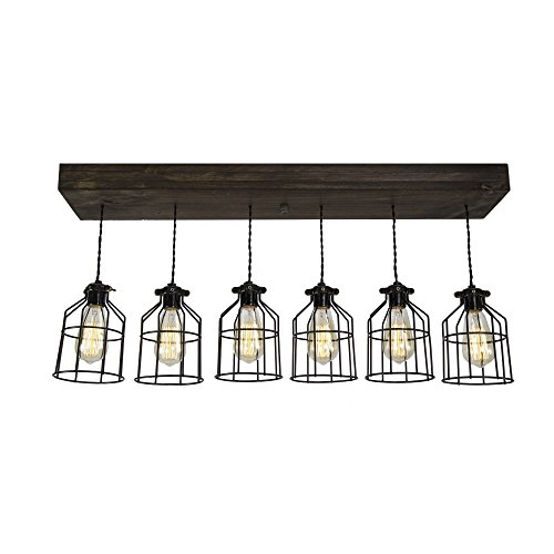 - West Ninth Vintage Fayette Wood Pendant Chandelier Light - Farmhouse Rustic Lighting for Kitchen Island - Dining Room - Bar - Industrial - Billiard Table - Edison Cages - Six Pendants - Jacobean