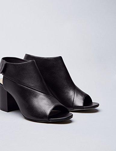 Vinden Peeptoe Sandalen Dames In Leer Met Drukknopen Sluiting En Blok Hiel, Zwart (zwart)