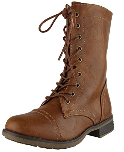 Combat Cognac Calf Up Boot Zipper Cambridge Select Inside Military Lace Mid Women's Xxw6RPEAq