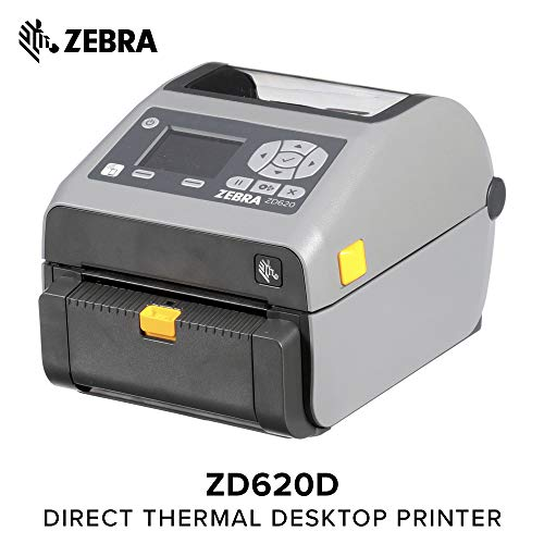Zebra - ZD620d Direct Thermal Desktop Printer with LCD Screen - Print Width 4 in - 203 dpi - Interface: WiFi, Bluetooth, Ethernet, Serial, USB - Peeler Preinstalled - ZD62142-D11L01EZ