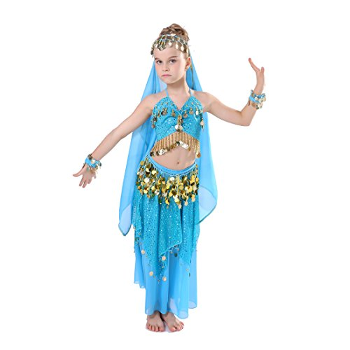 iMucci 150cm Gril Belly Dance Costume Set Top Skirt Bracelets Veil Belp Bollywood Gypsy Dancing Bellydance (Gypsy Costumes Girls)