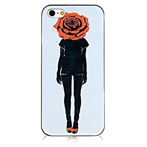 TOPAA Rose Image Pattern Black Frame Back Case for iPhone 4/4S