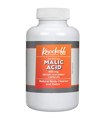 Malic Acid Capsules (200 Capsules, 600 mg per Serving, 1 Capsule/Serving) by Knock Off Pharmacy, Boost Energy Production and Help with Muscle Pain & Soreness* (Off Magnesium)