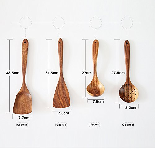 UBae Teak 4 Piece Set Kitchen Utensils Wooden Kitchenware Set Nonstick Pan Cookware Natural and Eco-Friendly Kitchen Utensils Set