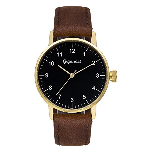 Gigandet Women's Quartz Watch Minimalism Analog Leather Strap Gold Brown G27-002