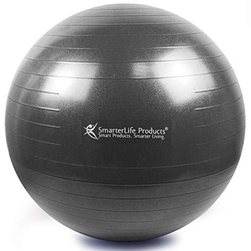 Exercise Ball for Yoga, Balance, Stability from SmarterLife - Fitness, Pilates, Birthing, Therapy, Office Ball Chair, Classroom Flexible Seating - Anti Burst, Non Slip + Workout Guide (Black, 75cm) by SmarterLife Products (Image #1)