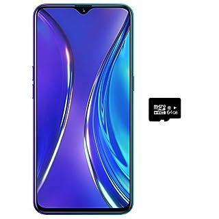 "Realme XT (128GB, 8GB RAM) 6.4"" AMOLED, 64MP Quad Camera, Snapdragon 712, Dual SIM GSM Unlocked, US + Global 4G LTE International Model - RMX1921 (Pearl Blue, 128GB + 64GB SD + Case Bundle)"