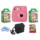 Fujifilm Instax Mini 9 Camera, Flamingo Pink - Bundle with 2X instax Mini Instant Daylight Film Twin Pack, Camera Bag, 4 AA Batteries, Microfiber Cleaning Cloth