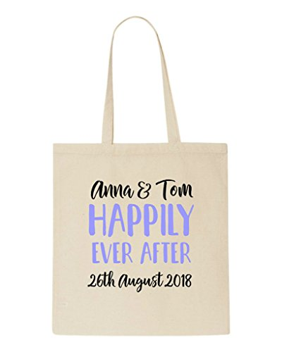 Ever After Bag Wedding Happily Gift Lived Party Engagement Names Shopper Tote Beige Personalised w4qCxFEaT