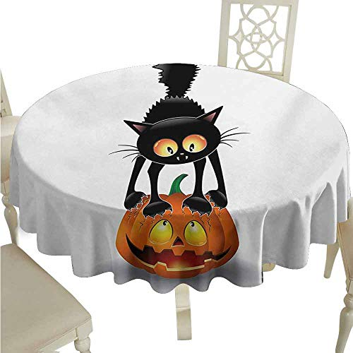 duommhome Halloween Spill-Proof Tablecloth Black Cat on Pumpkin Drawing Spooky Cartoon Characters Halloween Humor Art Easy Care D43 Orange Black -