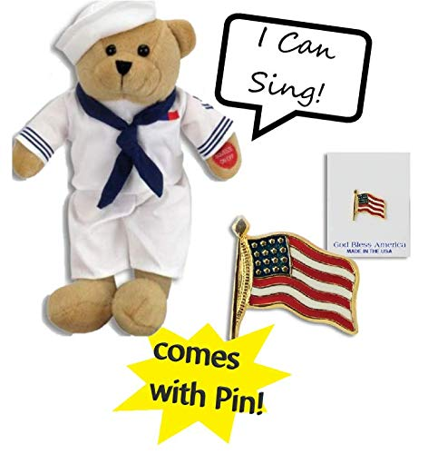 Matt/&Emma Adorable Soft Singing Navy Hero Teddy Bear Comes with American Flag Pin and Sings Anchors Aweigh Great Gift for Children and Adults!