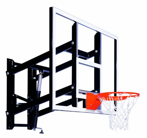 """Goalsetter GS60 Wall Mounted Adjustable Basketball System with 60"""" Glass Backboard and Flex Rim"""