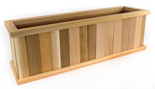 Outdoor Patio Wood Cedar Planter Box - 24 inch - Vertical Wrap-Around