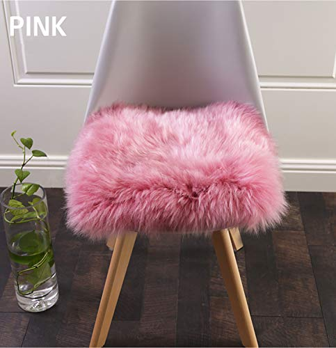 Pink Chair Pad - Super Soft Faux Fur Sheepskin Rugs Soft Plush seat Cover Pads for Chair Living & Bedroom Sofa Pink,16x16 Inch